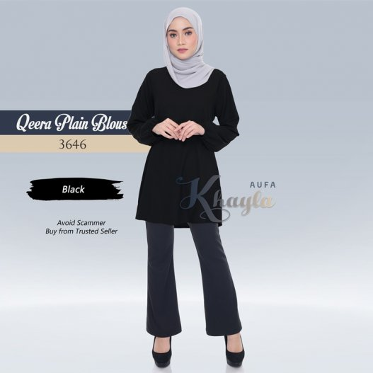Qeera Plain Blouse 3646 (Black)
