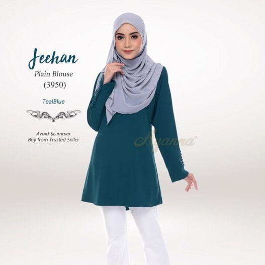 Jeehan Plain Blouse 3950 (TealBlue)