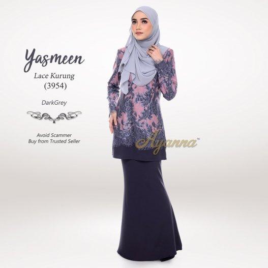 Yasmeen Lace Kurung 3954 (DarkGrey)