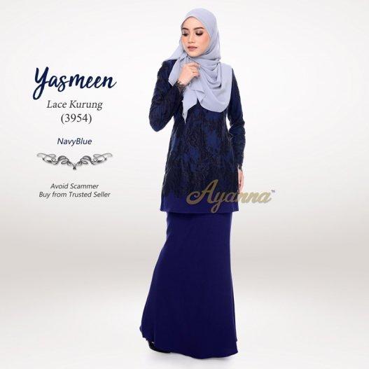 Yasmeen Lace Kurung 3954 (NavyBlue)