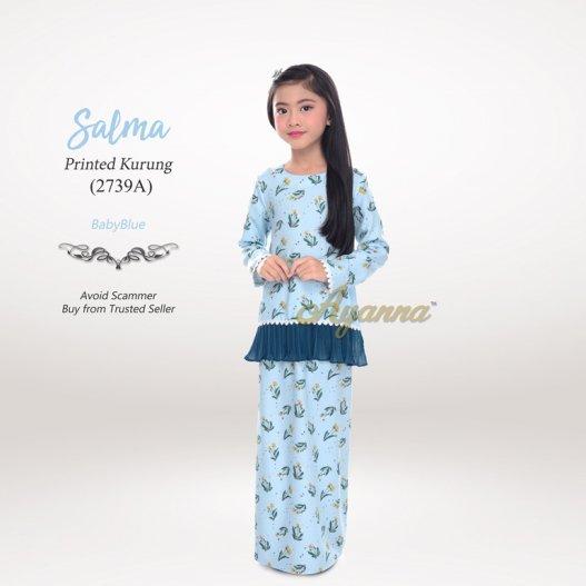 Salma Printed Kurung 2739A (BabyBlue)