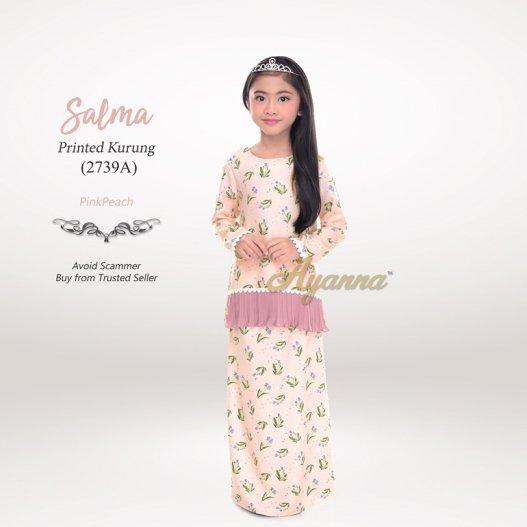 Salma Printed Kurung 2739A (PinkPeach)