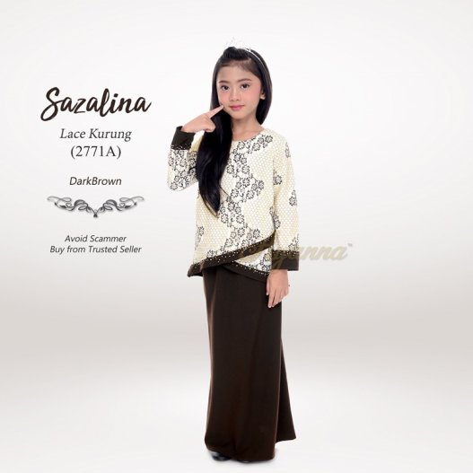 Sazalina Lace Kurung 2771A (DarkBrown)