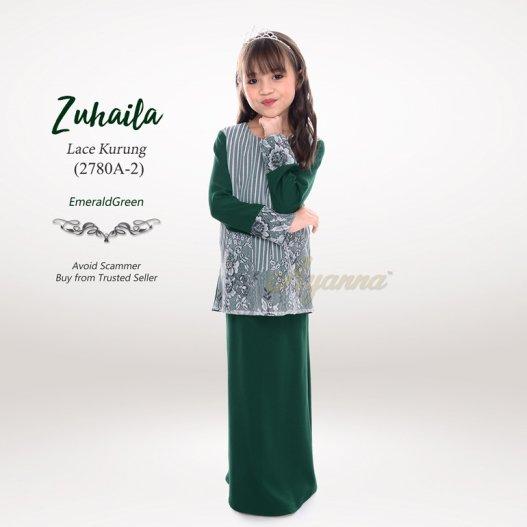 Zuhaila Lace Kurung 2780A-2 (EmeraldGreen)