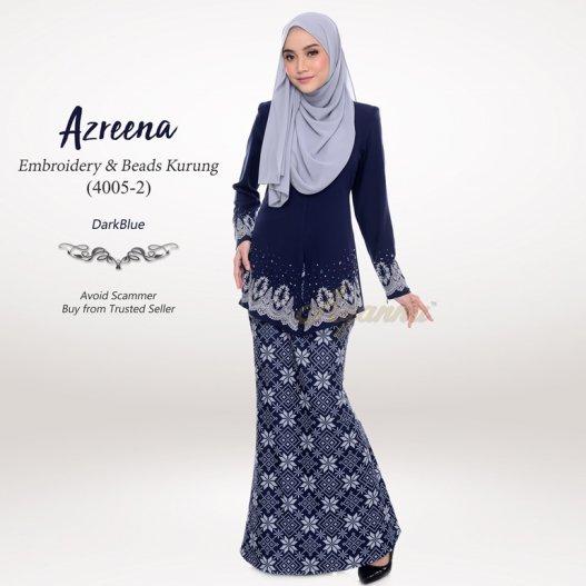 Azreena Embroidery & Beads Kurung 4005-2 (DarkBlue)