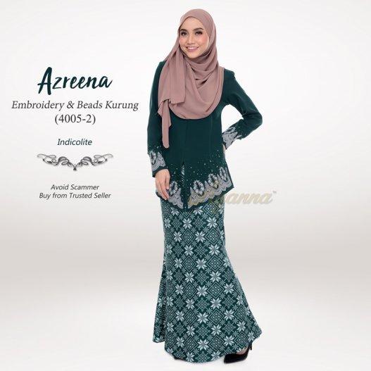 Azreena Embroidery & Beads Kurung 4005-2 (Indicolite)