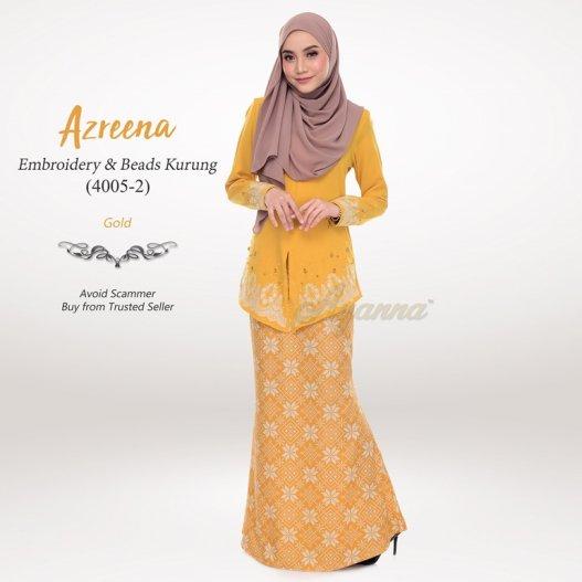 Azreena Embroidery & Beads Kurung 4005-2 (Gold)