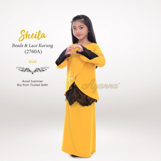 Sheila Beads & Lace Kurung 2760A (Gold)