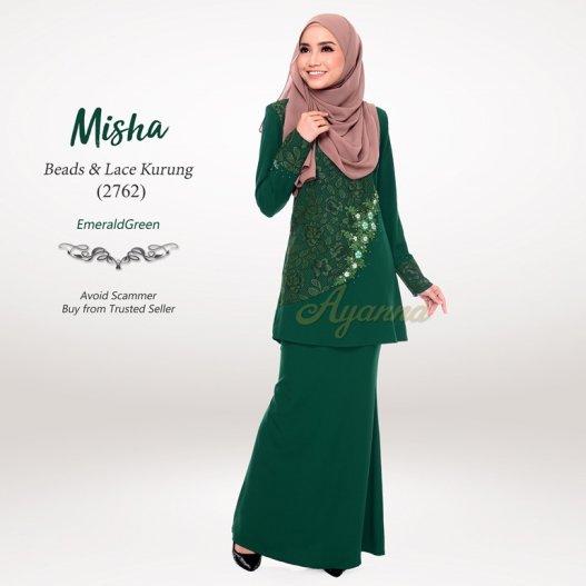 Misha Beads & Lace Kurung 2762 (EmeraldGreen)