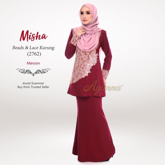 Misha Beads & Lace Kurung 2762 (Maroon)