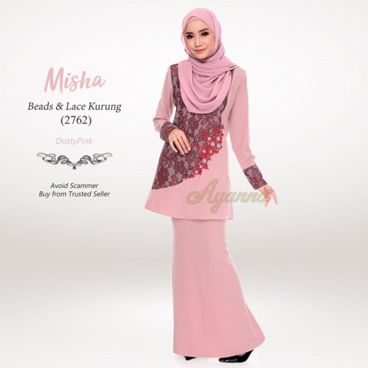 Misha Beads & Lace Kurung 2762 (DustyPink)