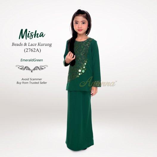 Misha Beads & Lace Kurung 2762A (EmeraldGreen)