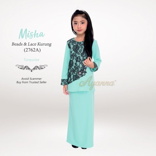 Misha Beads & Lace Kurung 2762A (Turquoise)