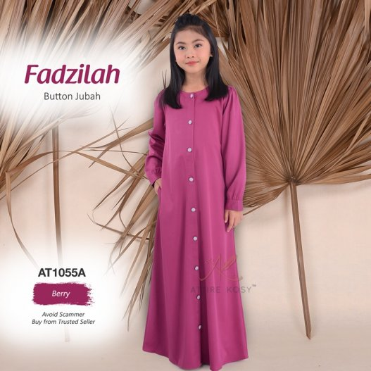 Fadzilah Button Jubah AT1055A (Berry)