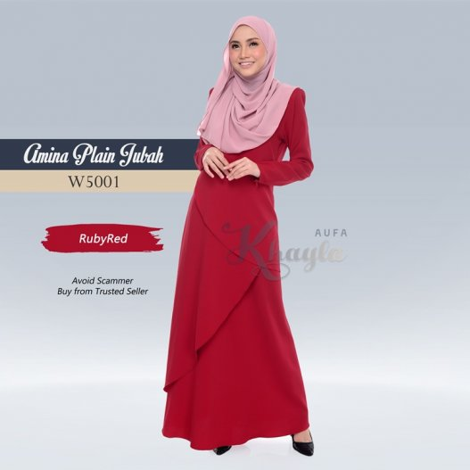 Amina Plain Jubah W5001 (RubyRed)