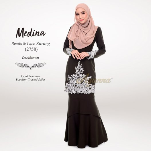 Medina Beads & Lace Kurung 2758 (DarkBrown)