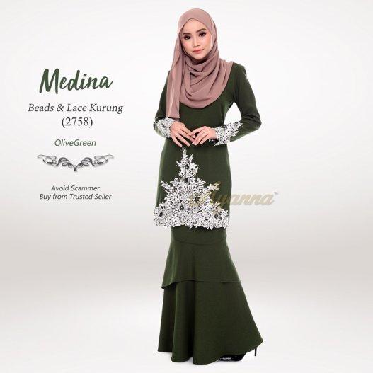 Medina Beads & Lace Kurung 2758 (OliveGreen)