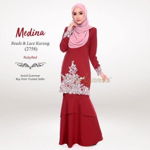 Medina Beads & Lace Kurung 2758 (RubyRed)