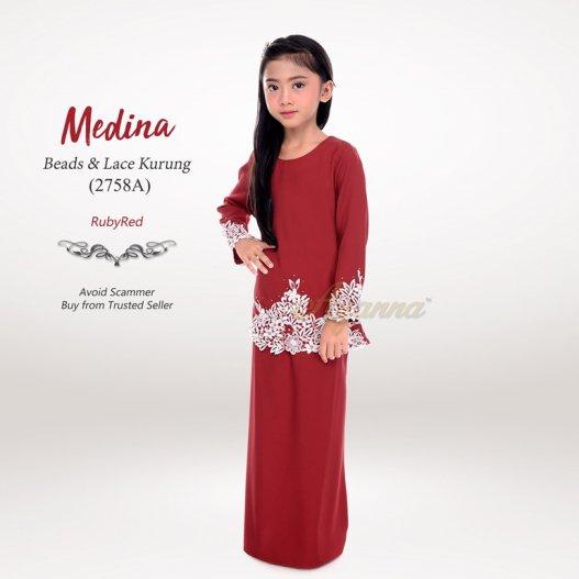 Medina Beads & Lace Kurung 2758A (RubyRed)
