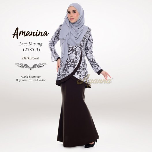 Amanina Lace Kurung 2785-3 (DarkBrown)