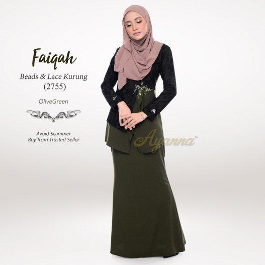 Faiqah Beads & Lace Kurung 2755 (OliveGreen)