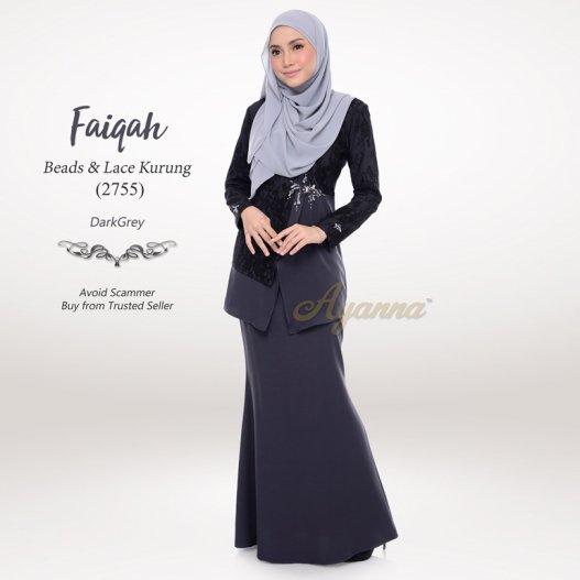 Faiqah Beads & Lace Kurung 2755 (DarkGrey)