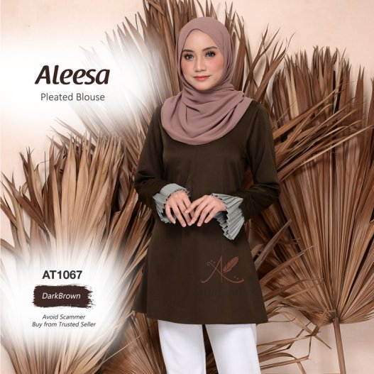 Aleesa Pleated Blouse AT1067 (DarkBrown)