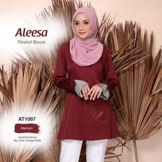Aleesa Pleated Blouse AT1067 (Maroon)