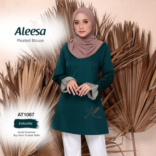 Aleesa Pleated Blouse AT1067 (Indicolite)