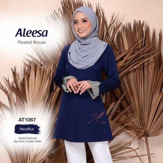 Aleesa Pleated Blouse AT1067 (NavyBlue)