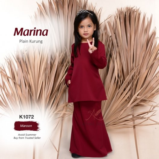 Marina Plain Kurung K1072 (Maroon)
