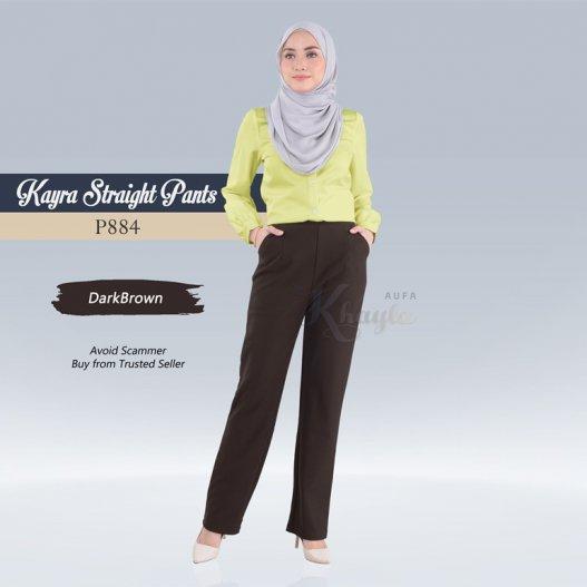 Kayra Straight Pants  P884 (DarkBrown)