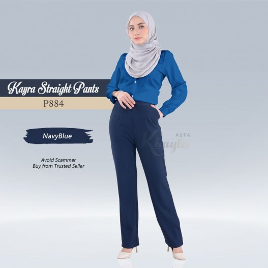 Kayra Straight Pants  P884 (NavyBlue)