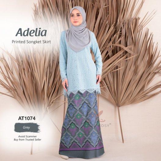 Adelia Printed Songket Skirt AT1074 (Grey)