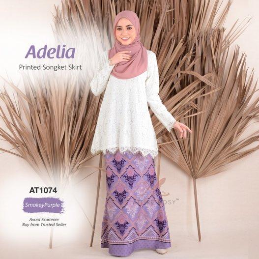 Adelia Printed Songket Skirt AT1074 (SmokeyPurple)