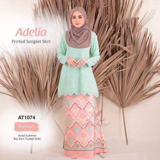 Adelia Printed Songket Skirt AT1074 (PinkPeach)