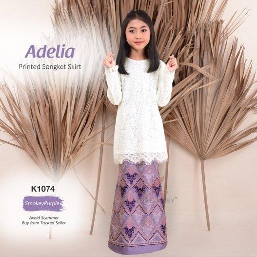 Adelia Printed Songket Skirt K1074 (SmokeyPurple)