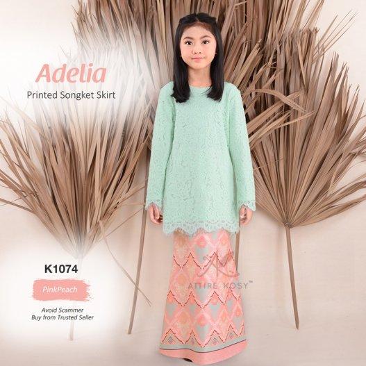 Adelia Printed Songket Skirt K1074 (PinkPeach)