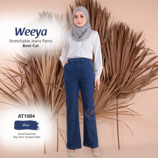 Weeya Stretchable Jeans Pants - Boot Cut AT1084 (Blue)