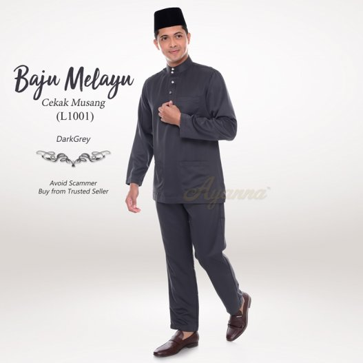 Baju Melayu Cekak Musang L1001 (DarkGrey)