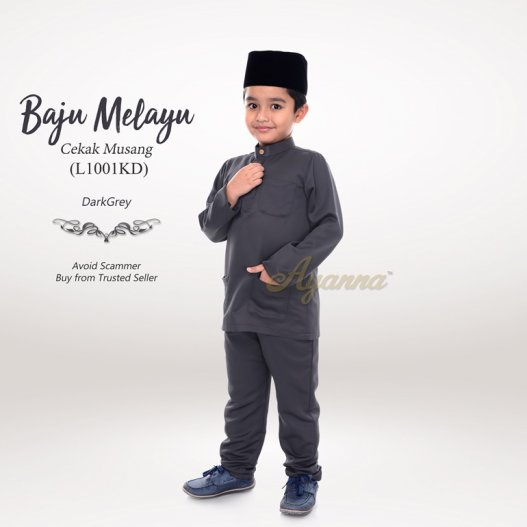 Baju Melayu Cekak Musang L1001KD (DarkGrey)
