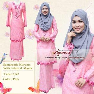 Samarenda Kurung With Sulam & Manik 6147 (Pink)