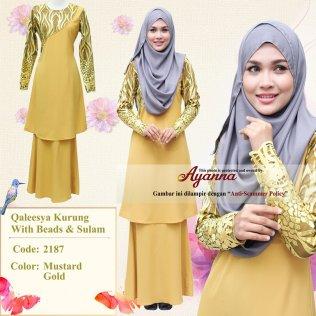 Qaleesya Kurung With Beads & Sulam 2187 (MustardGold)