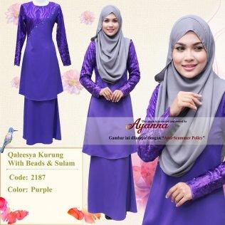 Qaleesya Kurung With Beads & Sulam 2187 (Purple)