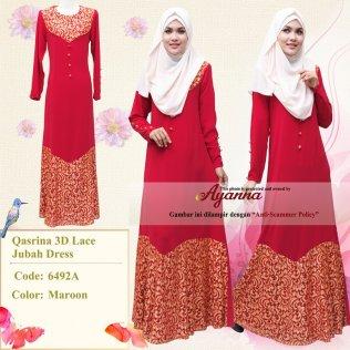 Qasrina 3D Lace Jubah Dress 6492A (Maroon)
