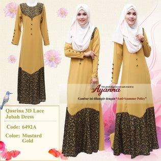 Qasrina 3D Lace Jubah Dress 6492A (MustardGold)
