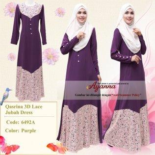 Qasrina 3D Lace Jubah Dress 6492A (Purple)
