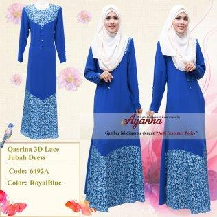 Qasrina 3D Lace Jubah Dress 6492A (RoyalBlue)
