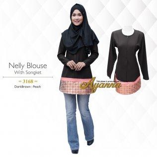 Nelly Blouse 3168 (DarkBrown+Peach)