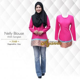 Nelly Blouse 3168 (MagentaPink+Grey)